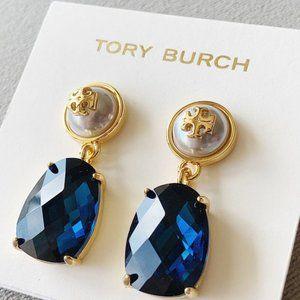 Tory Burch Blue Crystal Drop Pearl Earrings